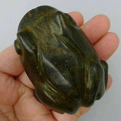 Hand Carved Frog Charm Statue Pendants Crafts Meteorite Pallasite Magnetic Field