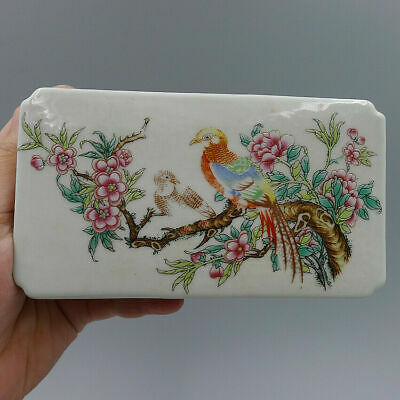 Hand Painted Flower Peacock Crafts Collection China Old Porcelain Ceramic Pillow