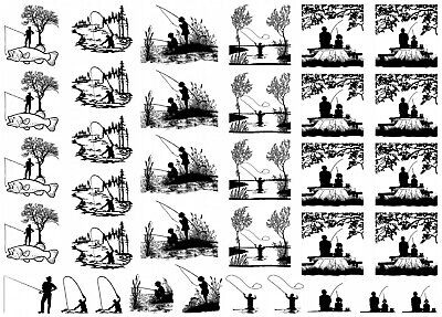 """Fishing Scenes 5"""" X 7"""" Card 35 pcs 1/2"""" to 1-1/4"""" Black Fused Glass Decals 1093"""