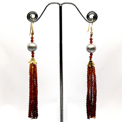 Natural Red Orange Hessonite Garnet & Gray Pearl Sterling 925 Silver Earrings