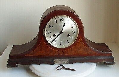 Large Vintage  Nap Hat Inlaid Wooden  Mantel Clock