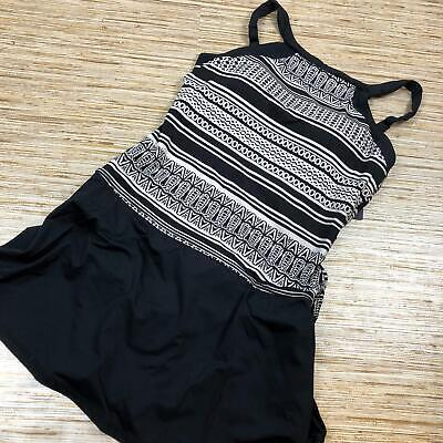 f008d07bc9 Q-82 JAG WOMEN'S Ethnic Stripe High swim dress suit BLACK WHITE size ...