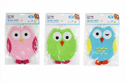 Baby Wash Mitt Pack of 3 Owl Design Bath Time Towel Flannel Cloth Washcloth