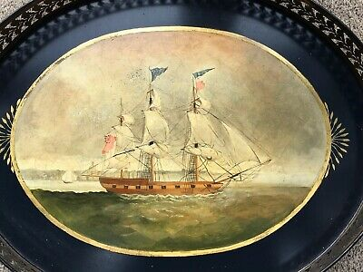 Antique Vintage Hand Painted Tole Ware Tray,nautical Sailing Ship,57 X 45 Cm