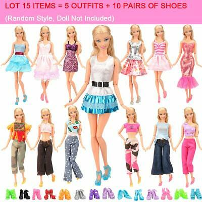 Barbie Doll Dress Sets Fashion Casual Wear 5 Clothes/Outfit 10 Pair Shoes GIFTS