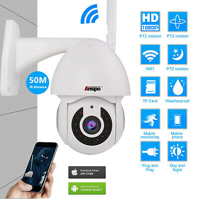 Outdoor Full HD 1080P WiFi IP IR Camera PTZ Pan Tilt Security NightVision Webcam