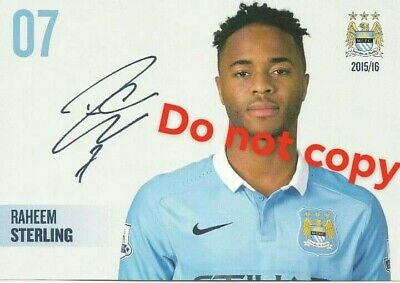 7x5 Raheem STERLING ManCity signed. STERLING autograph(Pre-Printed Autograph)