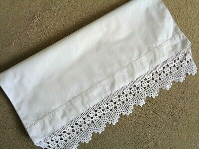 Beautiful Old Vintage White Cotton Pillowcase Hand Made Lace Edge VGC