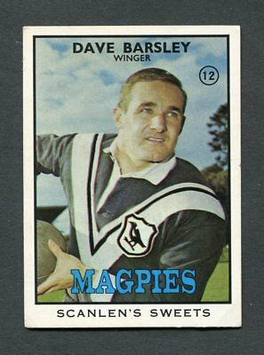 "Scanlens Gum 1968 ""football - #12 Dave Barsley (Sharks)"" Trade Card"