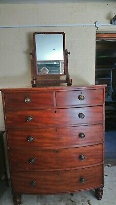 Bow fronted Chest of Drawers excellent storage.and Victorian Swivel Mirror
