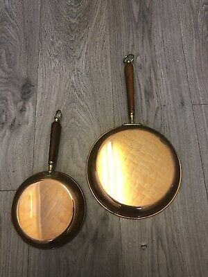 Vintage Copper Kitchen  Wall Display Country Cottage Farm Fry Pans