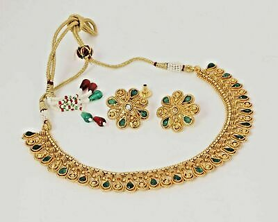 Indian Bollywood Wedding Antique Gold Plated Necklace Bridal Traditional Jewelry