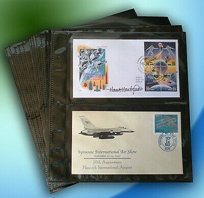 SuperSafe First Day Cover #6 Horizontal 2-Pocket REFILL Pages (Refill Pages)