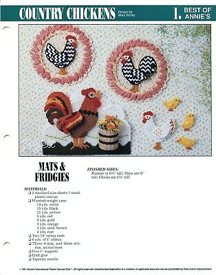 Plastic Canvas Pattern ONLY Rooster /& Hen Wallhangings PLUS Chicken Magnets