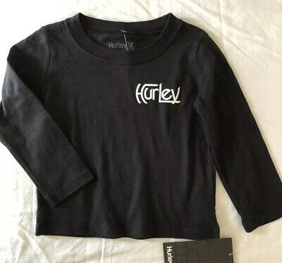 NWT Hurley Logo Toddler Baby Boys  Long Sleeve T-Shirt Black Sz 12 Months Cotton