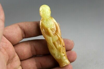 3'' Chinese old yellow jade hand-carved ancient beauty statue pendant 0544