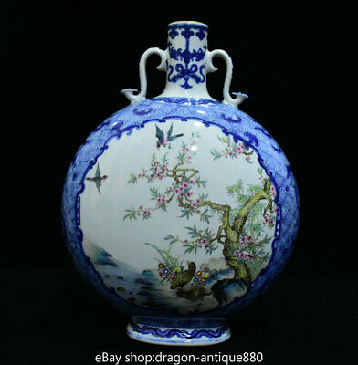 "14"" Marked Chinese Famille Rose Porcelain Plum Blossom Bird flat Bottle Vase"