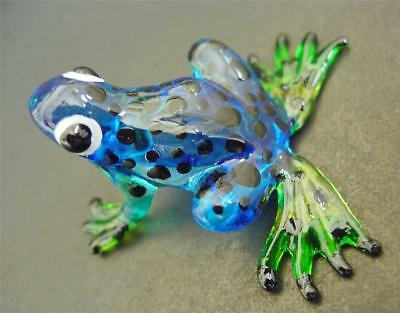 Glass FROG TOAD Blue Black Spotted Frog Painted Glass Animal Glass Ornament Gift