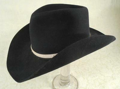 Vintage Black Bradford Western Hat,by Resistol,rawhide Band-Tooled Silver Buckle