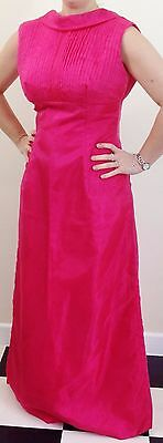 Beautiful Vintage hot pink pleated high neck cocktail gown evening gown