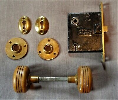 Antique Vintage Arts & Crafts Brass Lock Set with Turned Wood Door Knobs Nice