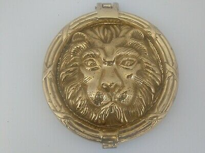 "Large VTG Solid Brass Lions Head Door Knocker Old Hardware 8.5"" Heavy VERY NICE"