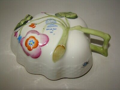 Herend Hungary Hand painted Porcelain Leaf Dish w/ handle  bugs birds 8725 RO