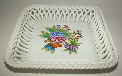 Herend Hungary Hand painted Porcelain Reticulated square Dish 7377/VBO Floral