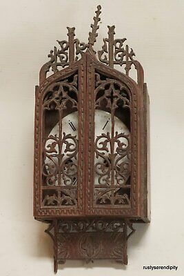 Very Unusual 19c. Gothic Black Forest Wall Clock with Fretwork Dial Doors