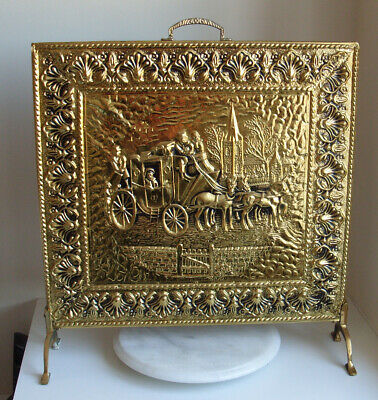Brass Fire Guard coach and horses
