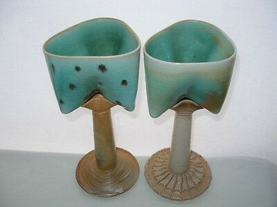 INCREDIBLY Awesome ART Pottery GOBLET PAIR Signed SCULPTURAL Hand Built FABULOUS