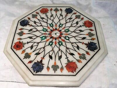 indo persian  ANTIQUE OLD inlaid stone marble pietra dura  Hexagonal disc top