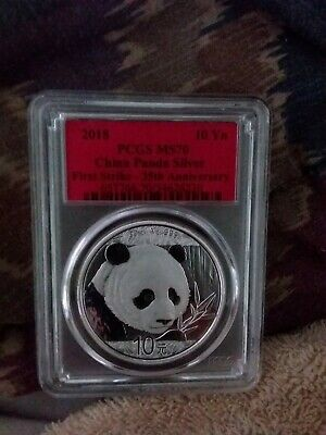 2018 30g Silver China Panda 10Yn PCGS MS70 First Strike Red Label