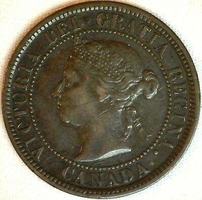 1884 Copper Canadian Large Cent One Cent Coin Very Fine #29