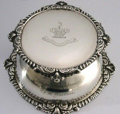 LARGE SOLID SILVER CRESTED INKWELL 1899 550g VERY INTERESTING ENGLISH ANTIQUE