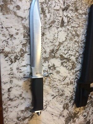 15 Inch Jungle Master Serrated Hunting Knife Stainless Steel with Sheath