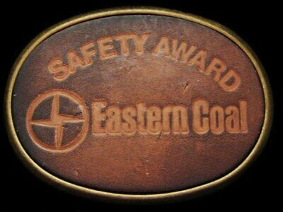 JE27161 *NOS* VINTAGE 1970s **EASTERN COAL COMPANY** SAFETY AWARD LEATHER BUCKLE
