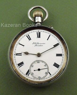 Antique Edwardian J W Benson The Bank Solid Silver Top Wind Fob Pocket Watch