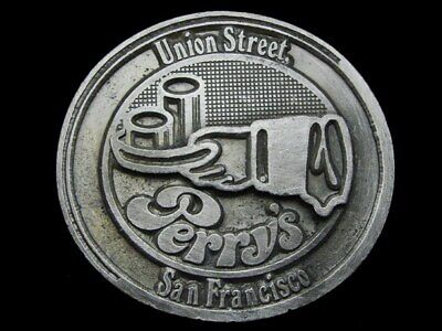 Kk21172 Vintage 1976 **Perry's - Union Street San Francisco** Pewter Belt Buckle