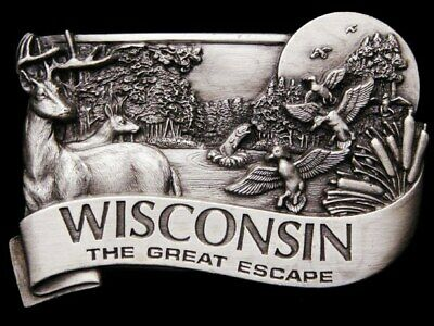 Jb03116 Vintage 1984 **Wisconsin** The Great Escape Wildlife Scene Pewter Buckle