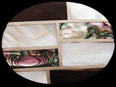 JB09172 VINTAGE 1970s **WOOD, ABALONE, & MOTHER OF PEARL** FASHION BELT BUCKLE