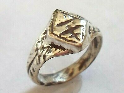 Birthday Gift,detector Find & Polished,1300-1500 A.d Medieval Silver Cross Ring