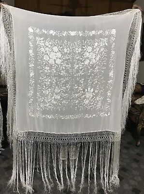 """Antique Chinese Hand Embroidery Piano Shawl  43"""" X 44"""" Fringe 24"""""""