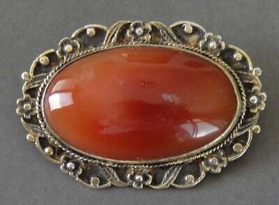 ANTIQUE FABULOUS G.P. Victorian Large Natural Red Carnelian Stone Pin/Brooch