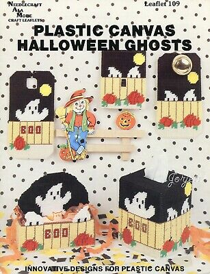 Halloween Ghosts, Basket Hanger Tissue Cover & More plastic canvas pattern book