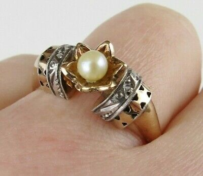 18k & 14k Gold sterling pearl art deco ring mystery hallmarks French ? Russian ?