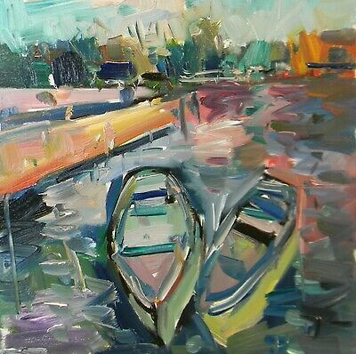 JOSE TRUJILLO Impressionism Oil Painting BOATS WATER MODERN COLLECTIBLE ART NR