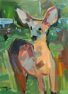 JOSE TRUJILLO Impressionism OIL PAINTING Little Deer Animal Outdoors Life SIGNED
