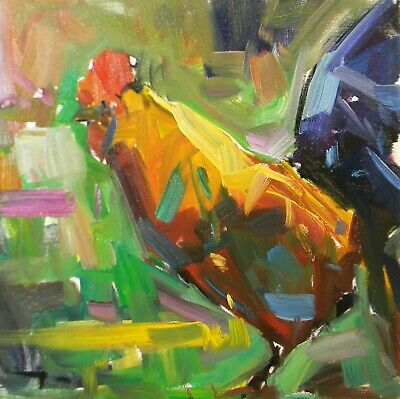 """JOSE TRUJILLO OIL PAINTING Rooster IMPRESSIONISM Farm Animal 14"""" Canvas NR"""