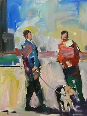 JOSE TRUJILLO OIL PAINTING People Walking Dog Impressionism Collectible NR